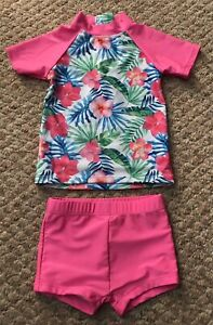 Girls UV Protection Swimsuit Age 2-3 Years Bright Flower Print