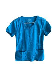 Women's Turquoise Short Sleeve Scrub Top With Pockets Size Extra Small Xs