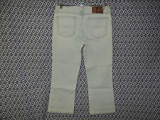 L.E.I. Women's Low Rise Distressed Whiskers Frayed Waist Blue Capri Jeans~Size 5