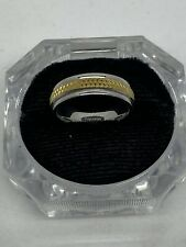 Gold Tone Mens Ring Vintage Signed Silver And