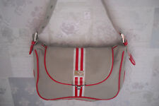 "LADIES ""QUICKSILVER""HESSIAN/RED/WHITE STRIPE HANDBAG.12"" X 8"" APPROX.VGC USED."