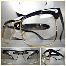 Men's Classy Retro Style Clear Lens EYE GLASSES Square Rose Gold & Black Frame