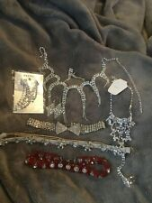 Rhinestone, jeweled, choker, necklace, earrings, headband, anklet with toe ring