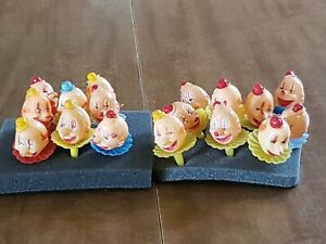 Vintage LOT 17 Plastic Clown Head Picks Cupcake Cake Toppers Hong Kong
