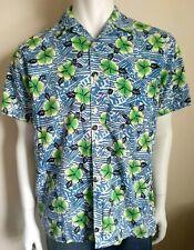SUNSHINE vintage mens size Small shirt Hawaiian hibiscus button up shirt sleeve