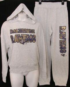 NEW Baltimore Ravens NFL Team Sleepwear Hooded Sweatshirt Jogger Pajamas Women M