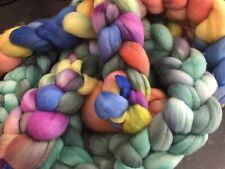 NZ Merino 19 mic hand-painted roving, assorted colours, combed top, braided 100g