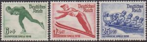 SET Germany 1935 Winter Olympic Games 6pf-25pf MH Stamps SG597/599
