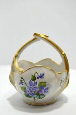 coupelle PANIER PORCELAINE décor floral peint VOLUBILIS ROSES VIOLETTES 1900