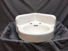 Antique Cast Iron White Porcelain Corner Sink Vintage Bathroom Old 435-18E
