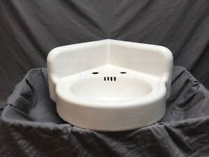 Antique Cast Iron White Porcelain Corner Sink Vintage Bathroom Old 435-18E