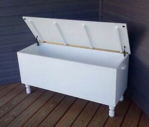 Handmade Contemporary White Blanket Hope Chest Solid Wood Storage Trunk