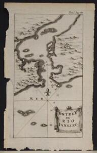 RIO DE JANEIRO BRAZIL 1712 WILLIAM DAMPIER SACRCE ANTIQUE COPPER ENGRAVED MAP