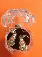 #21 Authentic Russian Jewelry German Silver Finift Earrings Vintage Filigree