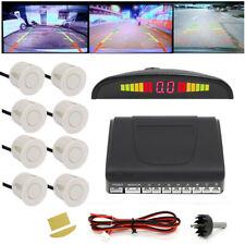 White Car Parking Sensor Kit + 8 Sensors LED Display/Buzzer Reverse Front&Rear
