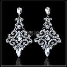 Espumosos Plata Austriaca Diamante Cristal largo Aros Colgantes party/wedding Reino Unido