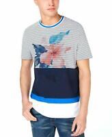 Michael Kors Men's SZ XL Colorblocked Stripe Floral Graphic T-Shirt White $79++