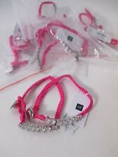 Lot of 12 GAP Woven Rope Crystal Toggle Friendship bracelet NWT $14.95 EA PINK