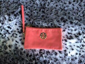 Tori Burch Fun Light Orange Waterproof Nylon Zippered Three Pouch Wristlet