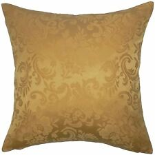 "FILLED JACQUARD FLORAL DAMASK GOLD 18"" 45CM CUSHION TO MATCH CURTAINS"
