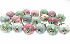 10 x Mixed Shabby Chic Ceramic Cupboard Knobs Cabinet Drawer Pulls (PASTEL10)
