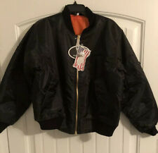 BOEING ~ Mens Coat  Bomber Black Flight Jacket MA-1 Flyers Intermediate Small