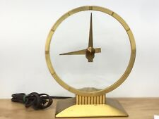"Vintage Mid-Century Jefferson Golden Hour Electric Mystery Clock 8"" Glass Gold"