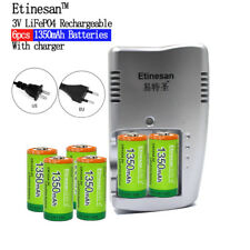 6 X1350mAh Etinesan 3v CR123A rechargeable LiFePO4 battery with CR123A charger