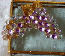 BEVELED GLASS BOX 3.25X6.25 FACETED GRAPE CLUSTERS~RARE