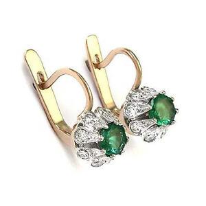 Russian Style Earrings Genuine Emerald and Diamond Earrings 14k Gold SI1 F #E904