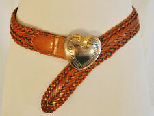 VTG CHIC BoHo Coachella Brown Leather Woven Braided Silver-tone Heart Belt S
