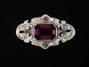 Silver Pewter VICTORIAN Inspired Pin ~ Purple Colored Stones