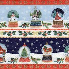 4x PAPER NAPKINS for Decoupage CHRISTMAS SNOWGLOBES