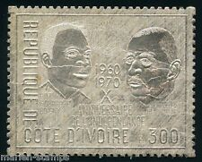 Ivory Coast Charles De Gaulle & Boigny Silver Foil Stamp Scott#299a Mint Nh