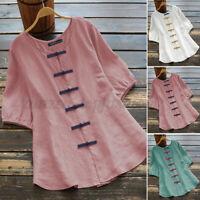 ZANZEA Women Summer Top Tee T Shirt Button Front Retro Short Sleeve Blouse S-5XL