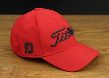 Titleist Golf Players Deep Back Lightweight Fitted Hat Cap Red Black S/M NEW
