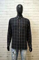BARBOUR Uomo Camicia Camicetta Taglia L Maglia Shirt Hemd Quadri Cotone Man Nero