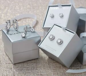 Sterling Silver Simulated Diamond Diamonique Set of 4 Earrings with Box