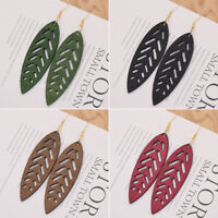 Vintage Wood Leaf Earrings Colorful Handmade Drop Dangle Ear Stud Women Jewelry