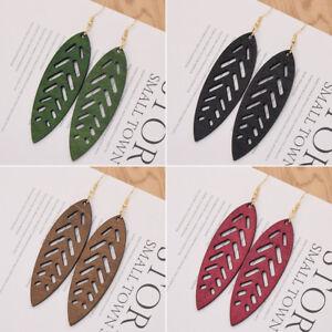 Vintage Wood Leaf Earrings Colorful Handmade Drop Dangle Ear Stud Women Jewelry