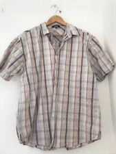 Men's Shirt Size L Peter Storm Short Sleeve Formal Cream Brown <JJ2771