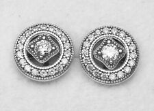 Authentic PANDORA VINTAGE ALLURE Earrings W/ Pandora TAG & HINGED BOX #290721CZ