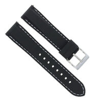 20MM SOFT RUBBER DIVER STRAP BAND FOR IWC 3777 CHRONOGRAPH AUTOMATIC BLACK WS