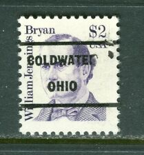 Coldwater OH 209  precancel on $2.00 W J Bryan Great American, Scott 2195