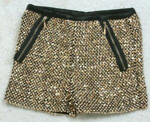 """Love Culture Woman's Gold Black Sequins Dress Shorts Small Womens 24"""" X 1.5"""" O27"""