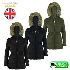 NEW LADIES WOMEN WINTER THICK JACKET | FAUX FUR HOODED | PADDED QUILTED COAT