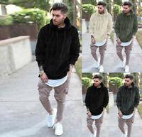 Mens Fleece Fur Long Sleeve Hooded Hoodie Sweatshirt Winter Warm Jacket Coat Top