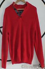 New Tommy Hilfiger Heavyweight Cable Knit Red Button Up Funnel Neck Large Jumper
