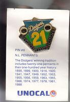 VINTAGE L.A. DODGERS UNOCAL PIN (UNUSED) - N.L. PENNANTS 1890-1990