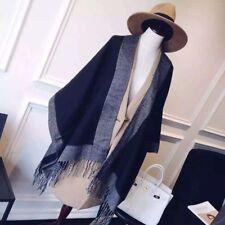 Women Cashmere Scarf Patchwork Plaid Poncho Wrap Shawl Blanket Cloak Poncho Cap